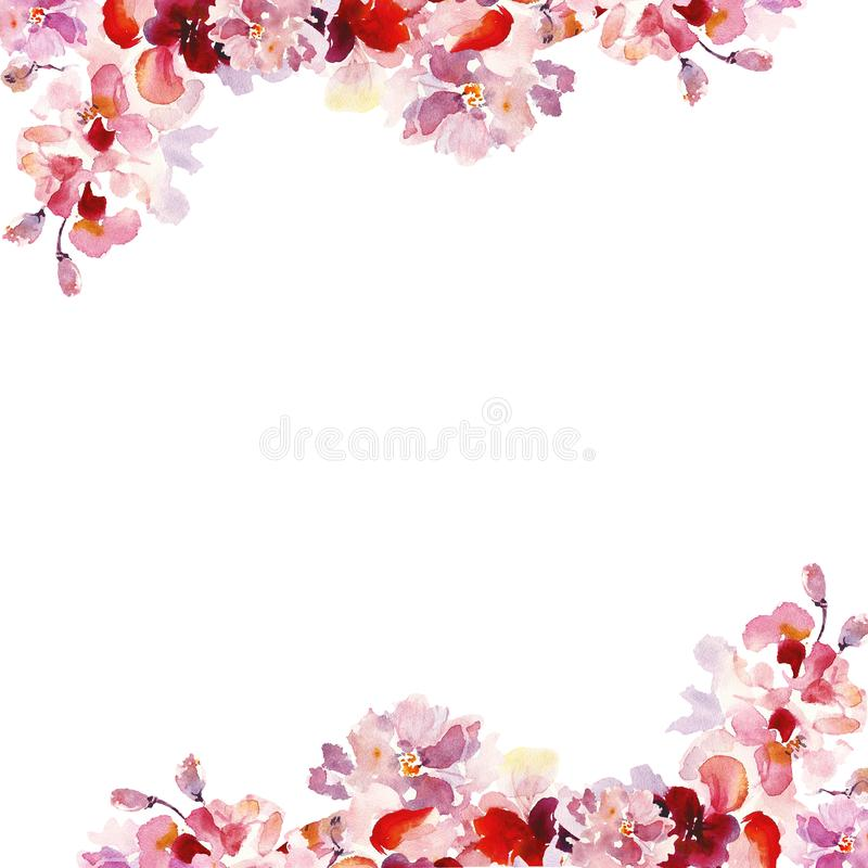 Watercolor Spring floral borders set with hand painted pink sakura flowers on white background. royalty free illustration