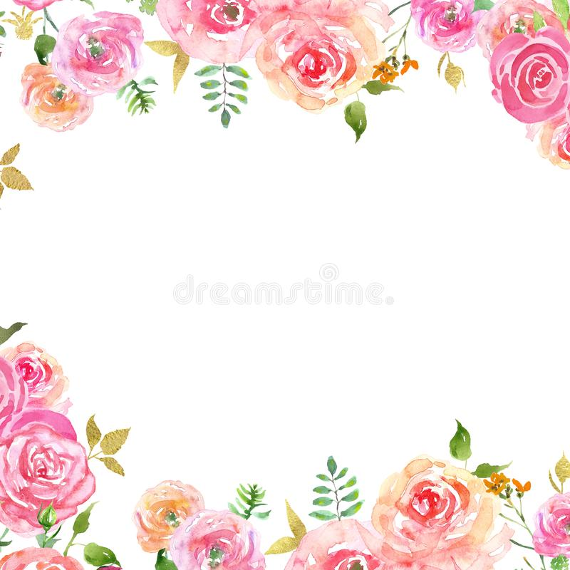 Watercolor spring floral frame with blush pink petals and gold leaves. Hand painted delicate border with roses stock illustration