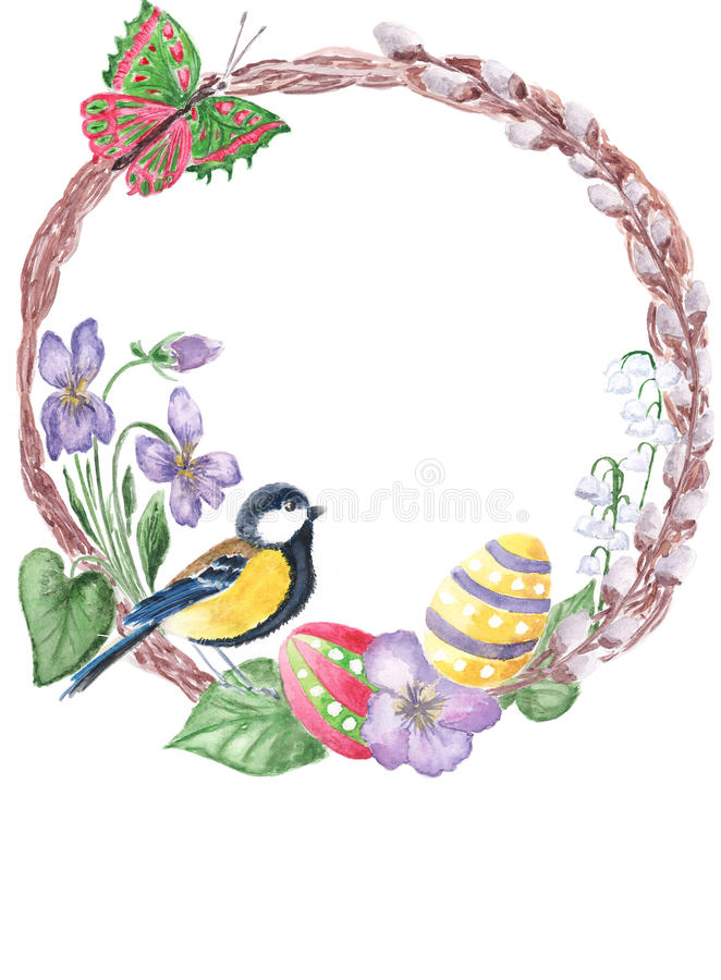 Watercolor spring floral Happy Easter wreath. Hand drawn easter vector illustration