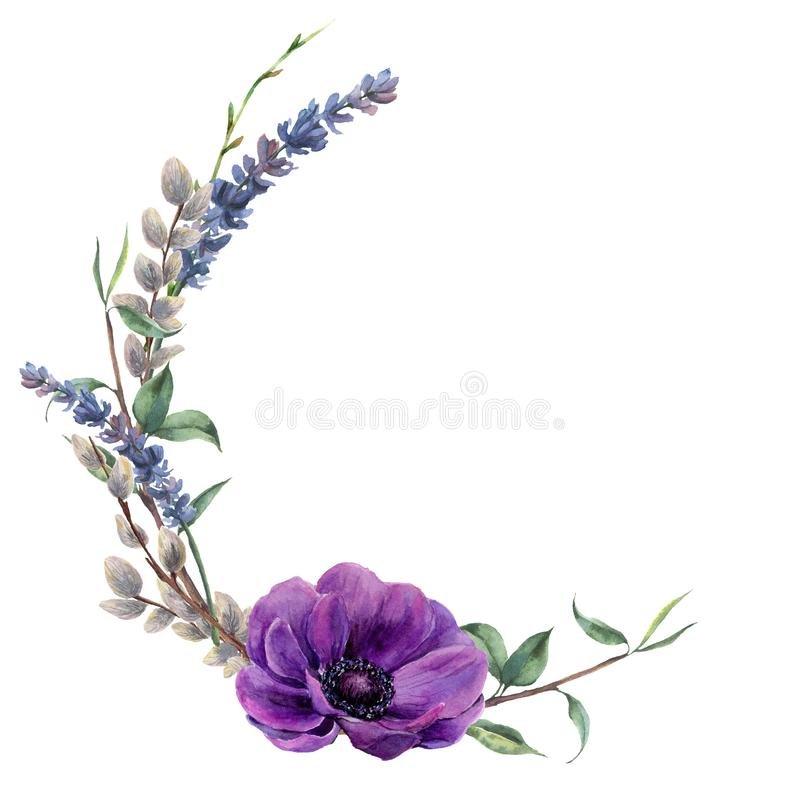 Watercolor spring floral wreath. Hand painted border with lavender, anemone flower, willow and tree branch with leaves. Isolated on white background. Easter stock illustration