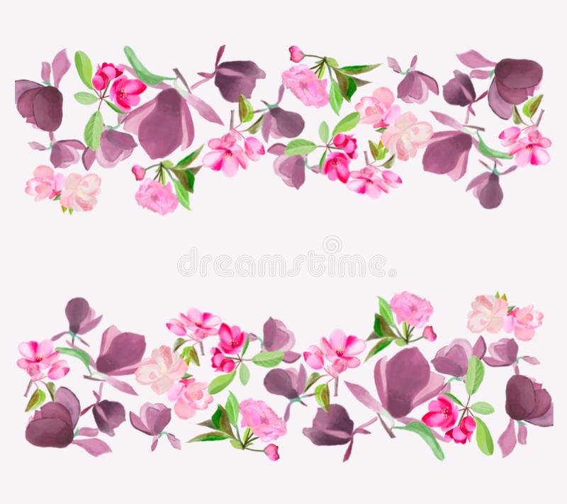 Watercolor Spring Flower magnolia, pink cherry and apple tree blossom royalty free illustration