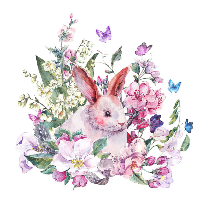 Watercolor spring greeting card white bunny. Blooming branches of peach, pear, apple, eggs, feathers and butterflies, isolated botanical vintage watercolor royalty free illustration