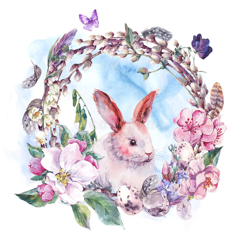 Watercolor spring Happy Easter wreath stock illustration
