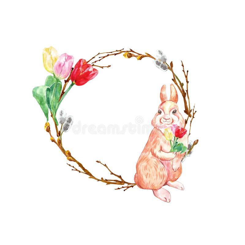 Watercolor spring holiday wreath for Easter with cute rabbit, tree branches and colorful tulip flowers, isolated. stock illustration