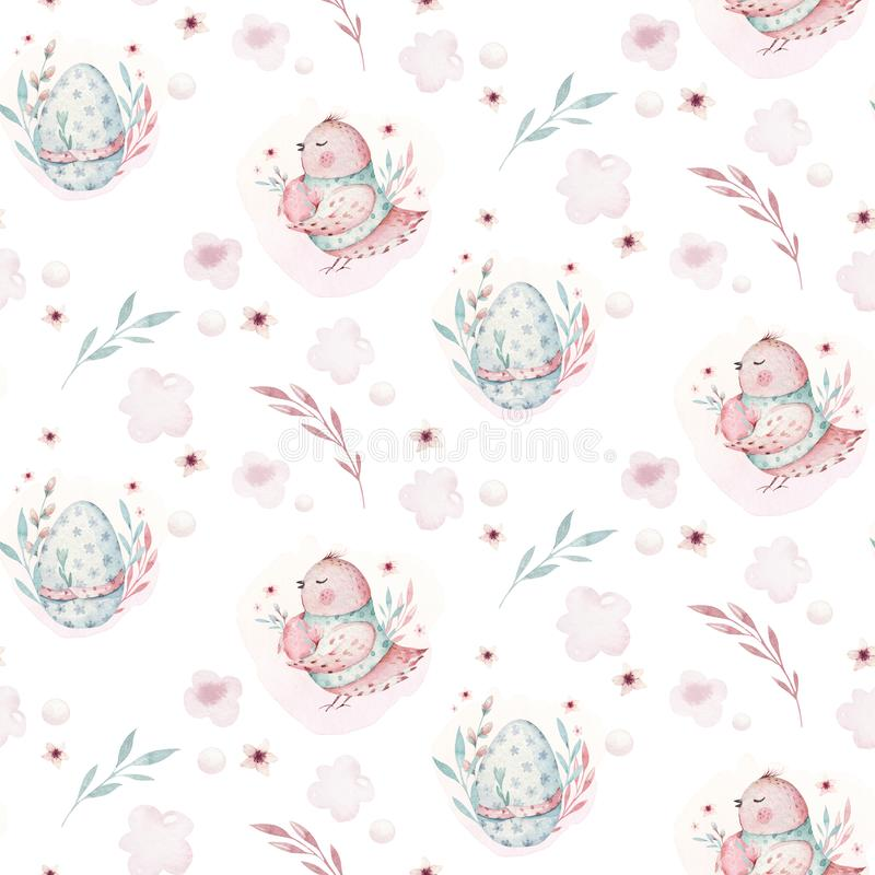 A watercolor spring illustration of the cute easter baby bird and eggs. Egg cartoon animal seamless pink fabric pattern. A watercolor spring illustration of the royalty free illustration