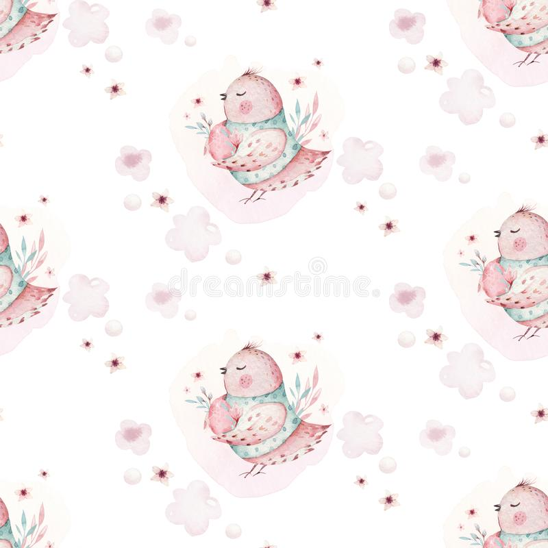 A watercolor spring illustration of the cute easter baby bird and eggs. Egg cartoon animal seamless pink fabric pattern stock illustration