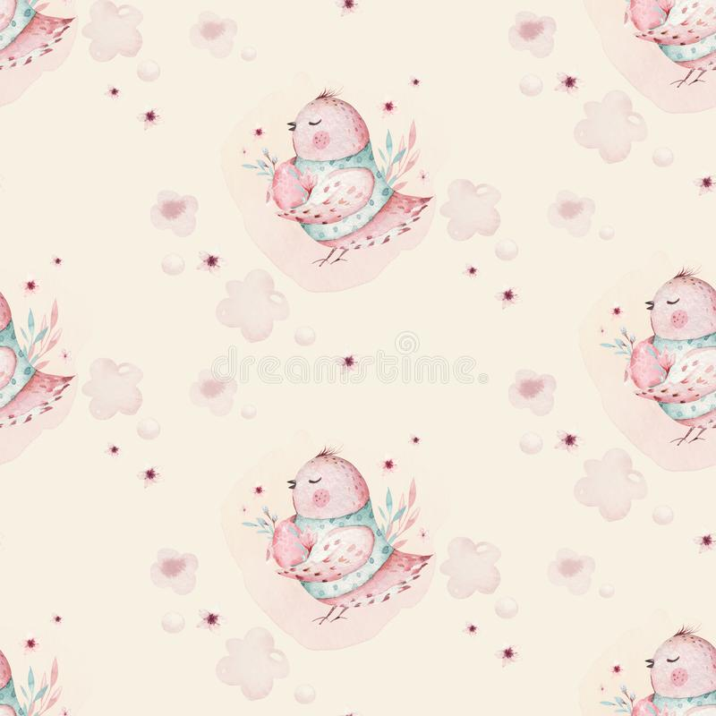 A watercolor spring illustration of the cute easter baby bird and eggs. Egg cartoon animal seamless pink fabric pattern royalty free illustration