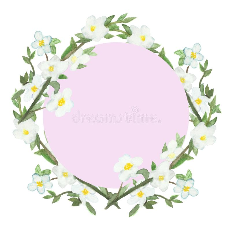Watercolor spring lush frame of flowering branches of Apple trees. Framed pattern of Apple branches with white flowers isolated on pink backgroun royalty free illustration