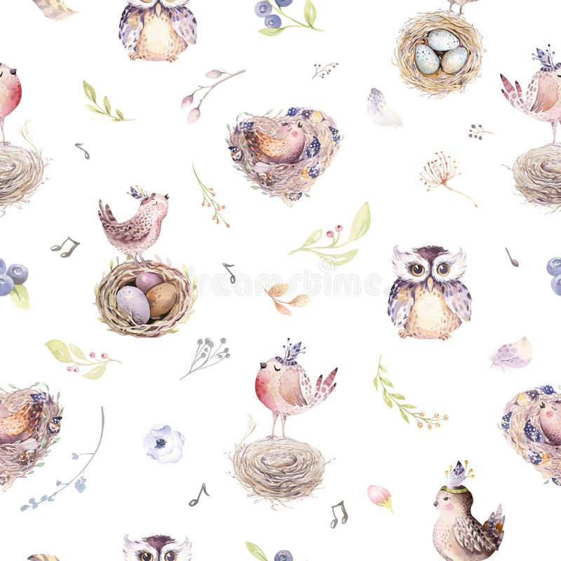 Watercolor spring rustic pattern with nest, birds, branch,tree twigs and feather. Watercolour seamless hand drawn bird. Background. Vintage, boho illustrations royalty free illustration
