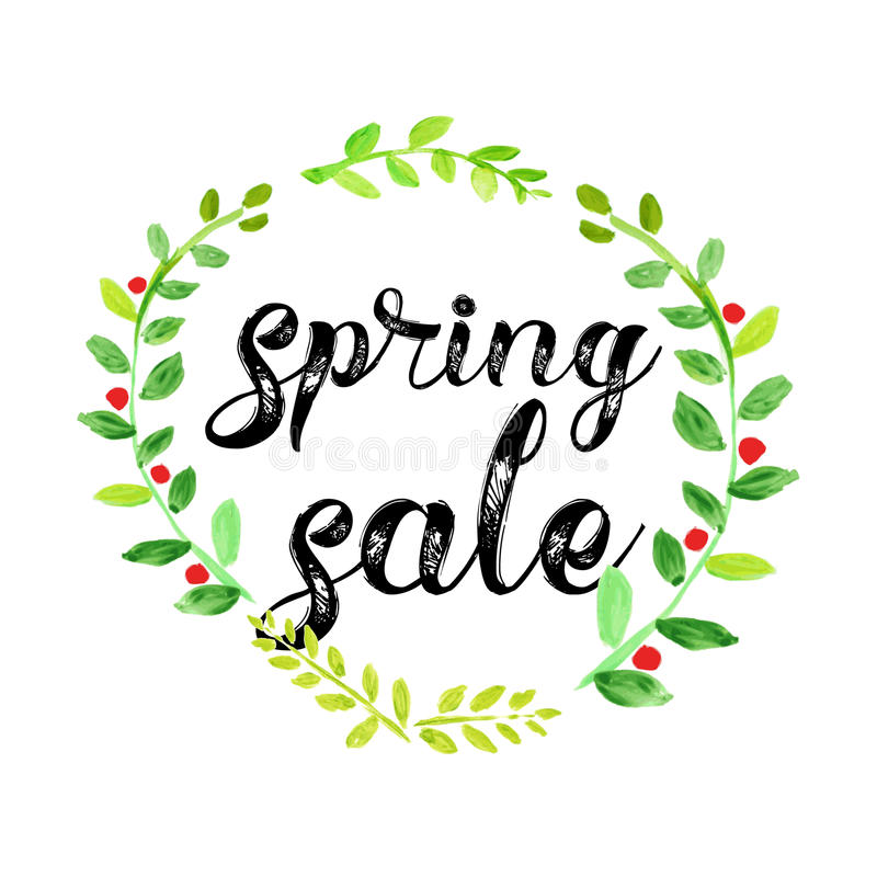 Spring Sale: Watercolor Spring Sale Vector Poster Stock Vector