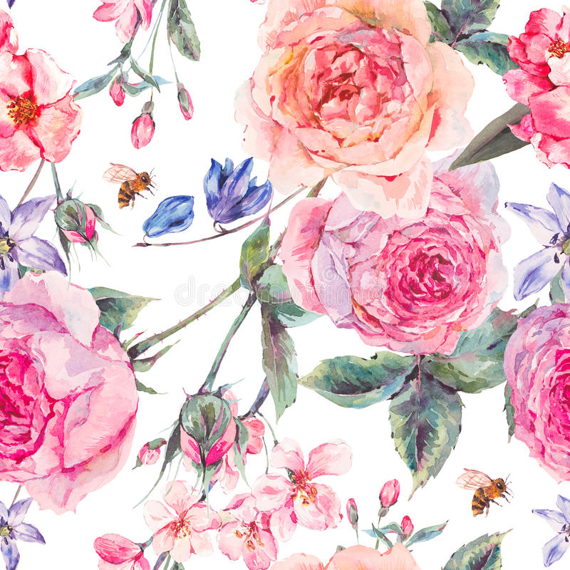 Watercolor spring seamless border with english roses royalty free illustration