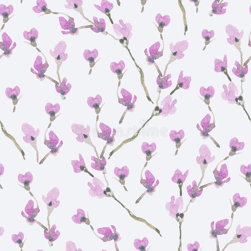 Watercolor Spring Seamless Pattern, Blooming Branches of Cherry vector illustration