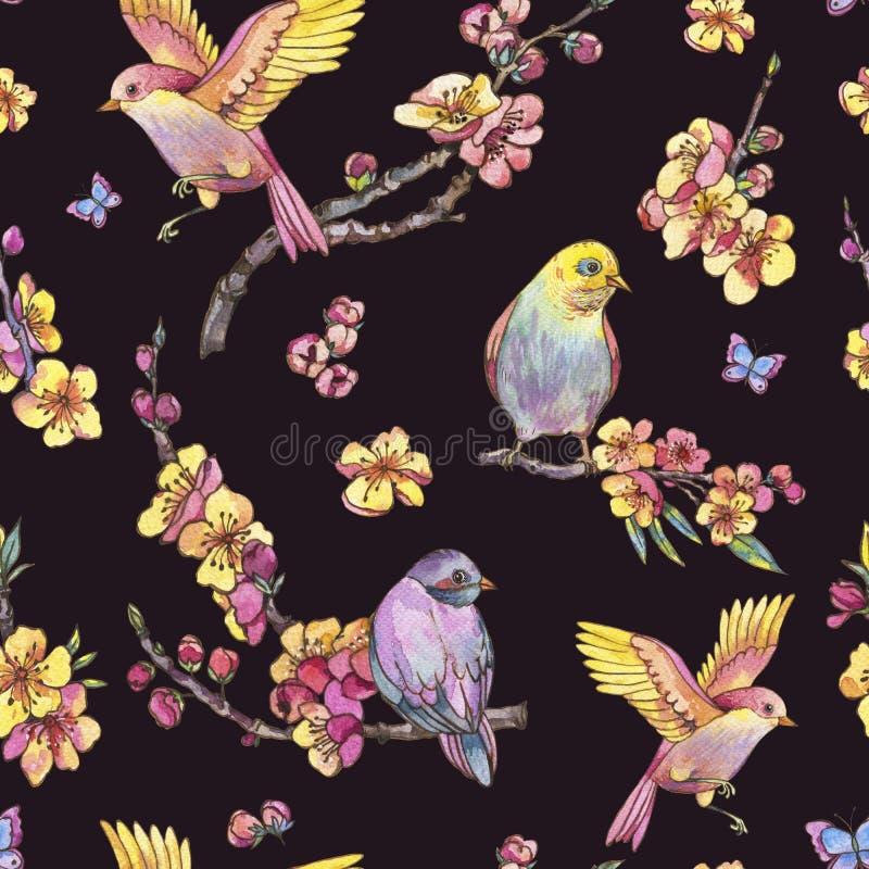 Watercolor spring seamless pattern, vintage floral illustration stock illustration