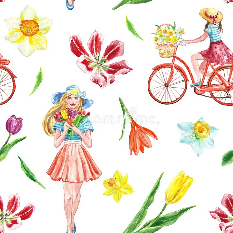 Watercolor spring bike ride seamless pattern with cute girl and colorful flowers on white background. Springtime illustration. Watercolor spring and summer vector illustration