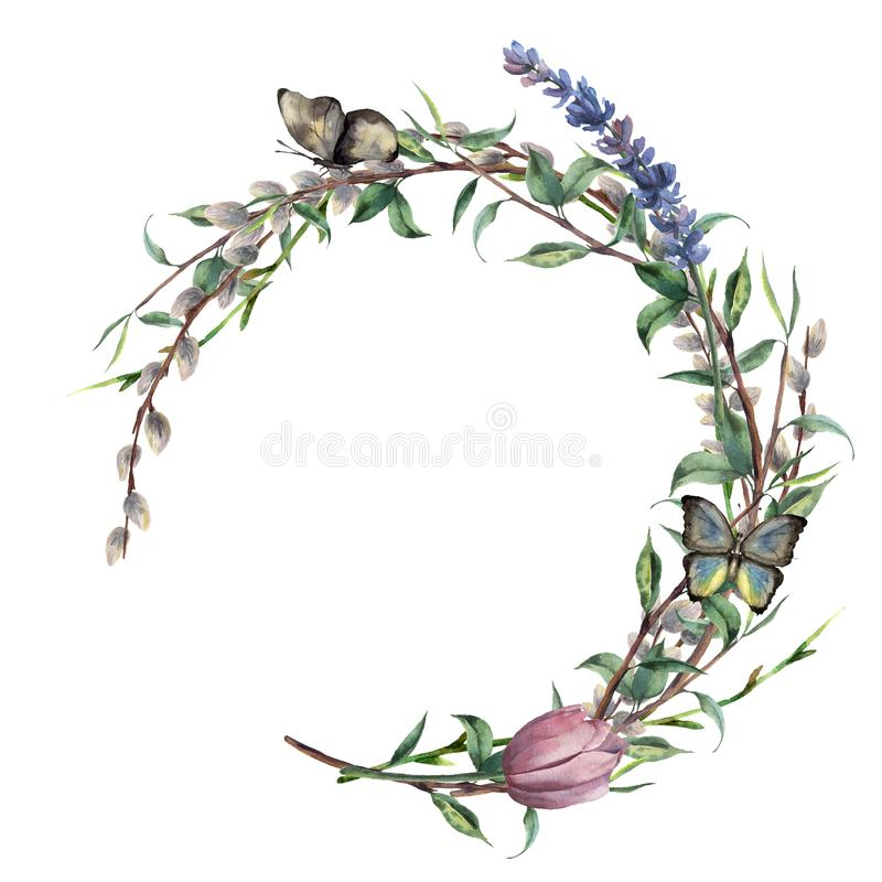 Watercolor spring wreath with butterfly. Hand painted border with lavender, willow, tulip and tree branch with leaves. Isolated on white background. Easter stock illustration