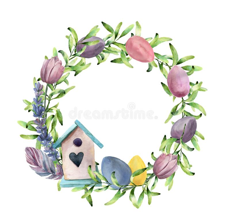 Free Watercolor Spring Wreath With Birdhouse. Hand Painted Border With Greenery, Tulips And Pastel Eggs Isolated On White Stock Images - 111430144
