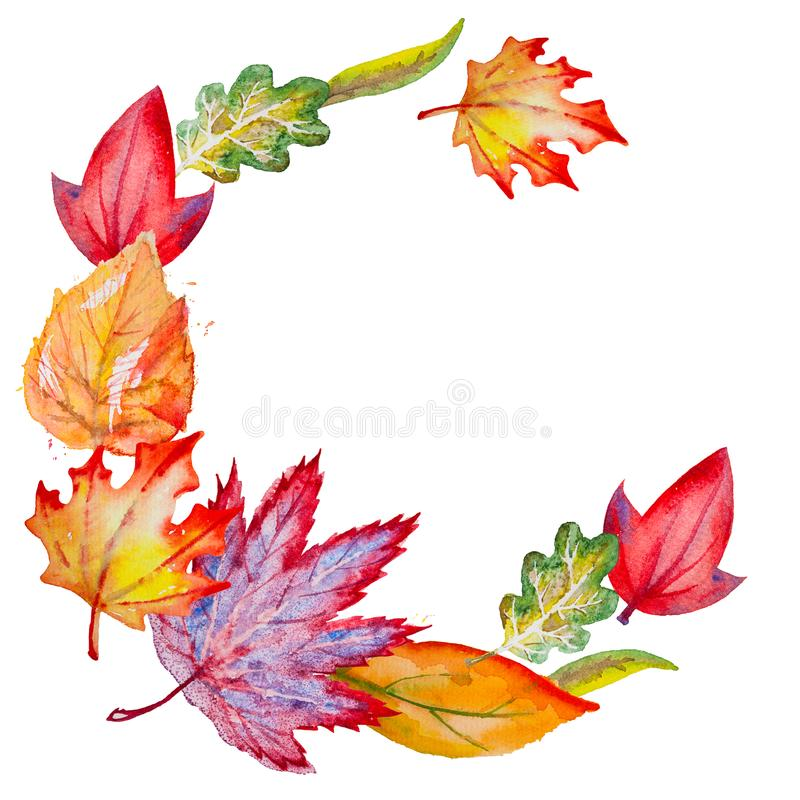 Watercolor square background with Autumn leaves. Circle autumn composition for your design with bright hand drawn watercolor orange, yellow, green, red and royalty free illustration
