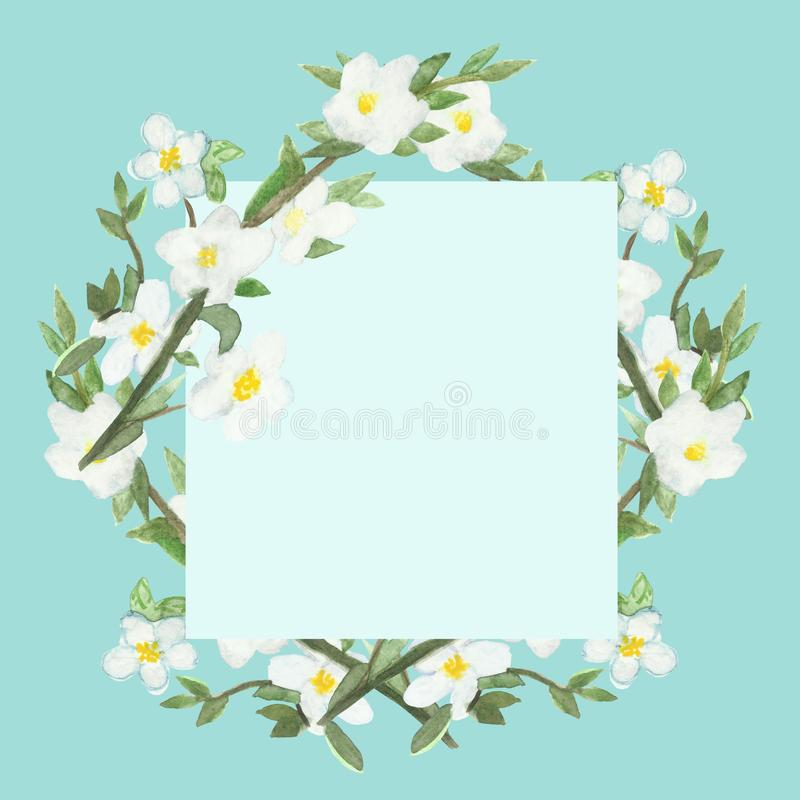 Watercolor square frame of Apple branches with white flowers on a blue background. royalty free illustration