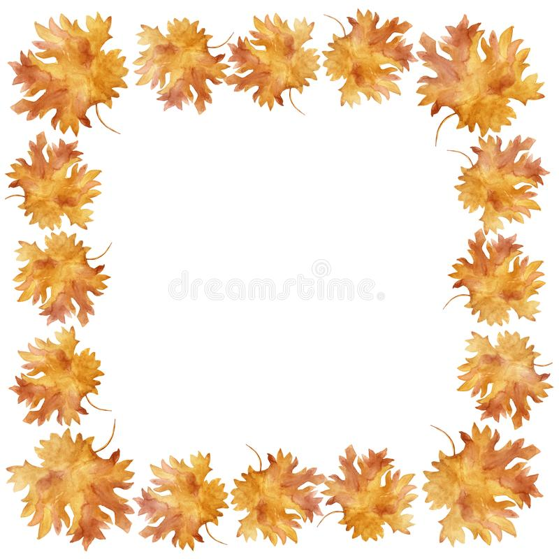 Watercolor square frame colorful autumn maple leaves in a round dance isolated on white background. Flower pattern for beautiful wedding invitation design stock illustration