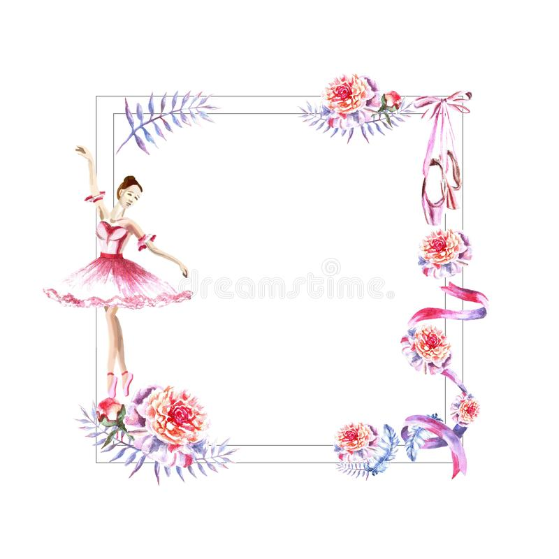 Watercolor square frame of feathers, peonies, twigs, ribbon, ballerina, pointes stock illustration