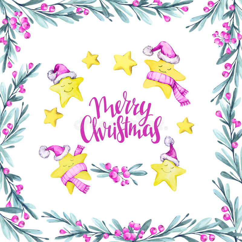 Watercolor square frame with leaves, berries and set of cartoon stars in warm cloths. New Year. Merry Christmas vector illustration