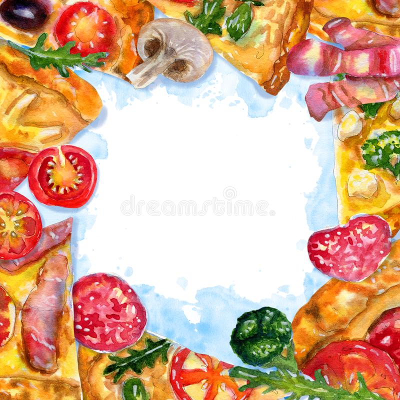 Watercolor square frame with pizza and ingredients on blue royalty free illustration