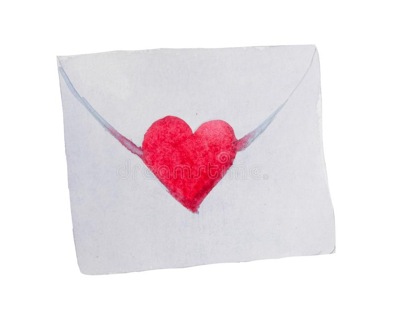Watercolor St. Valentine`s Day `Envelope of Love` for a loved one. The element displays a love letter to your loved one. The drawing is made with watercolor royalty free stock photography