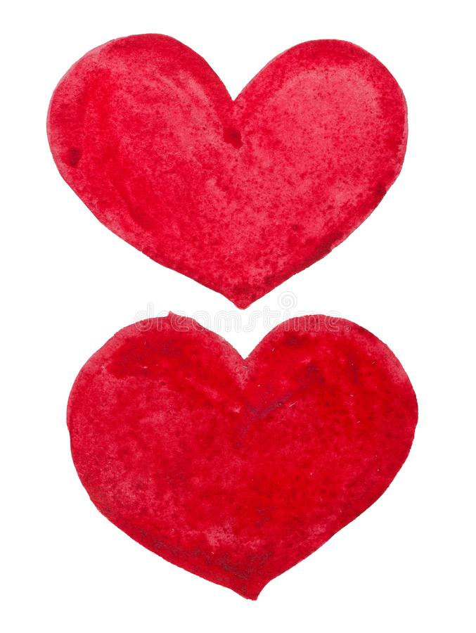 Watercolor St. Valentine`s Day `Hearts of love`. Hand-drawn two watercolor stylized hearts. Can be used as single element or in compositions. Perfectly for use royalty free stock image