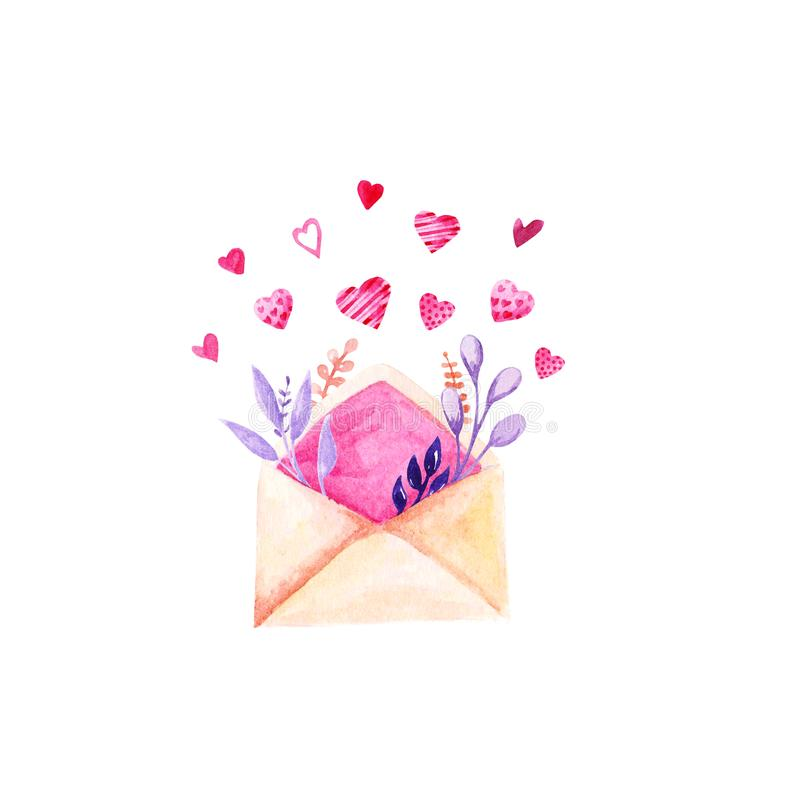 Watercolor St Valentines Day illustration. Romantic envelope with hearts and flower twigs. For card, design, print or background.  stock illustration