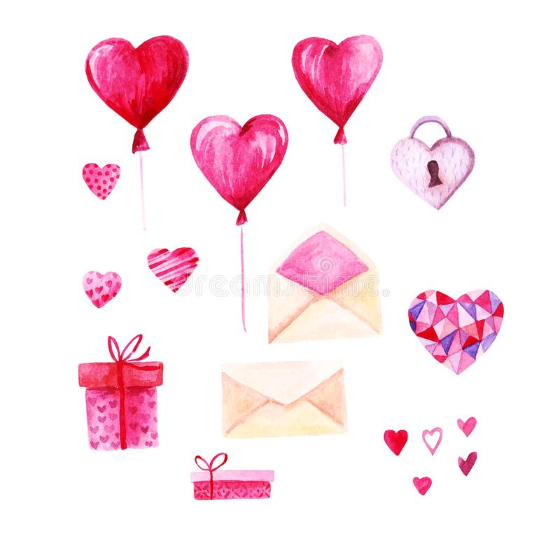 Watercolor St Valentines Day set. Romantic pink hearts, gift box, envelope. For card, design, print or background.  vector illustration
