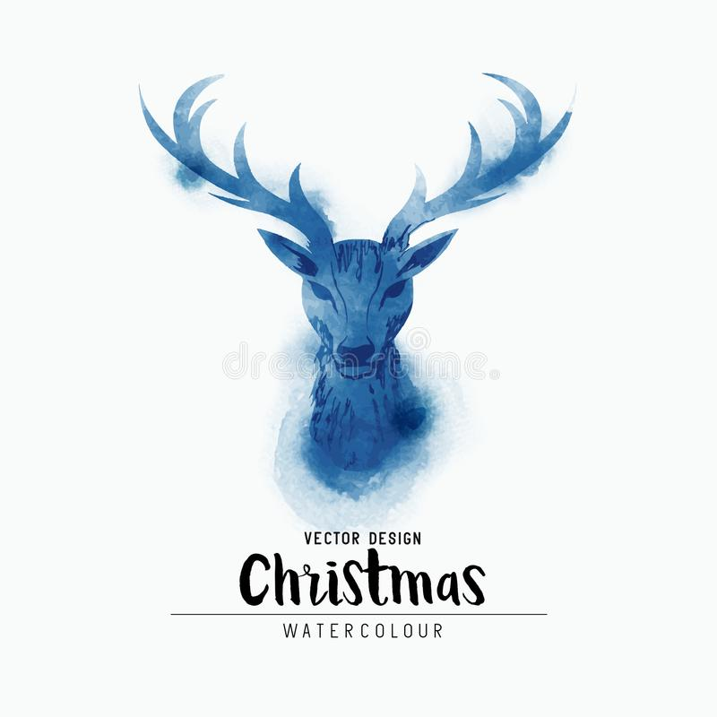 Free Watercolor Stag Head Silhouette Royalty Free Stock Image - 102485556