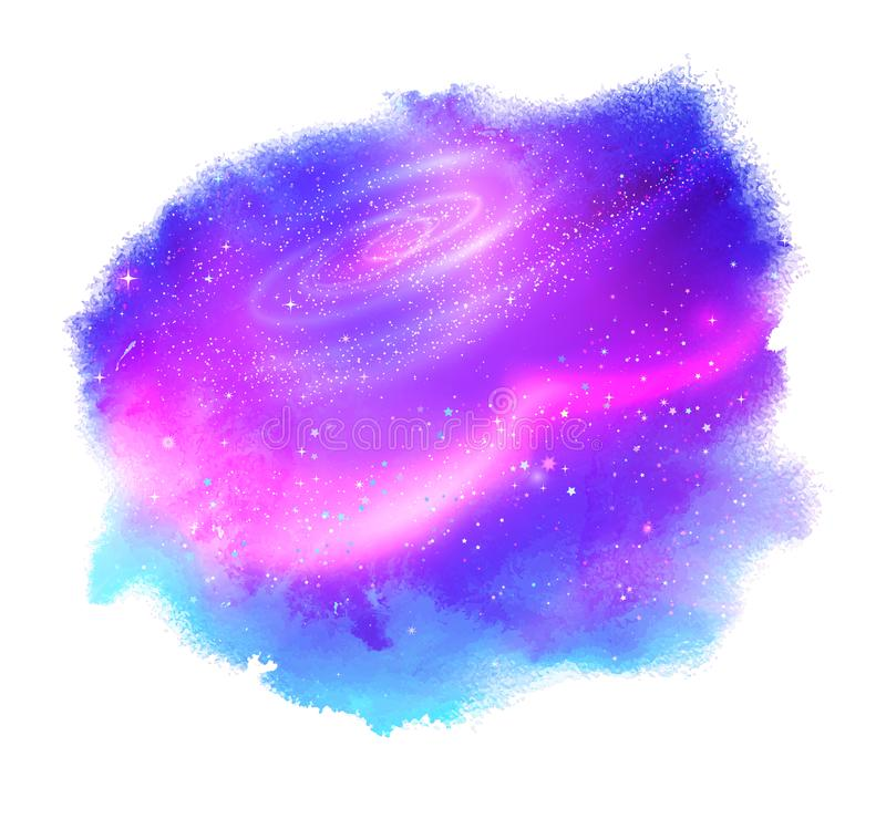 Watercolor stain with glowing outer space vector illustration