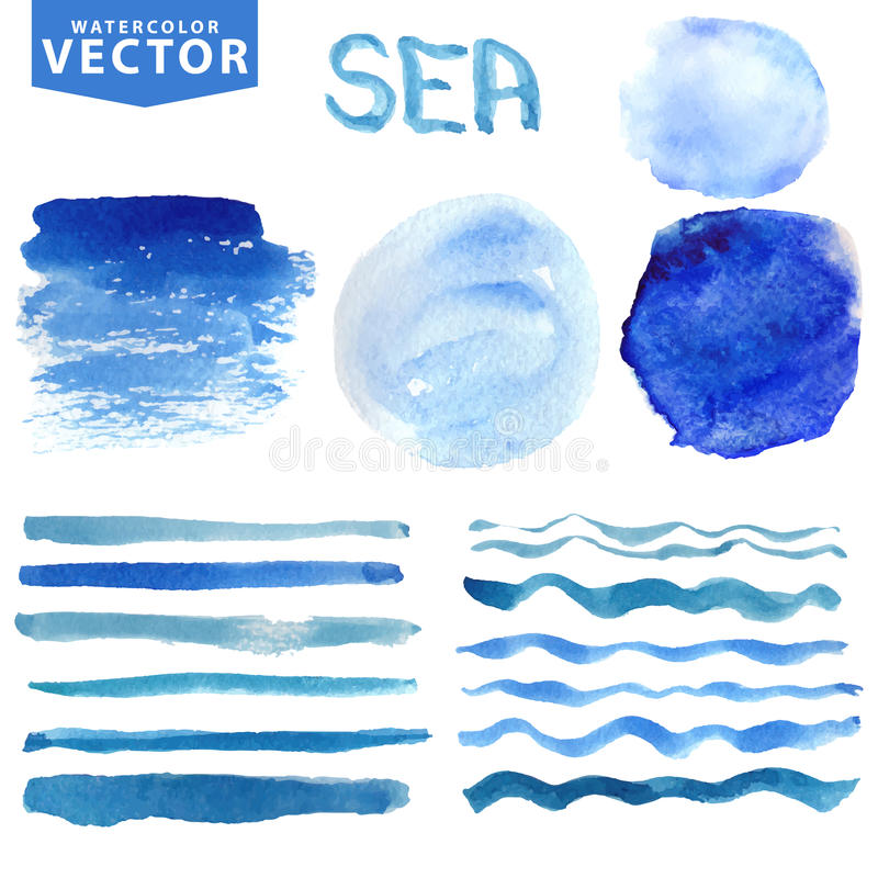 Free Watercolor Stains,brushes,waves.Blue Ocean,sea Royalty Free Stock Photography - 54070267