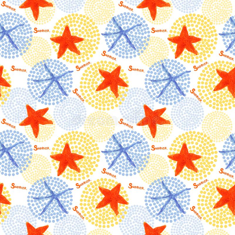 Watercolor starfish and dots seamless patern illustrations. On white backdrop. marine background stock illustration