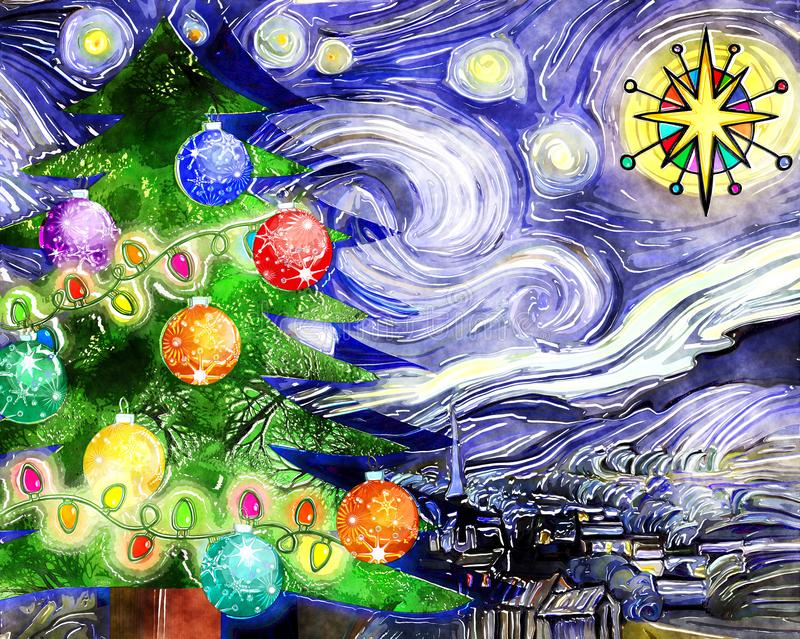 Watercolor Starry Night Christmas Tree royalty free illustration