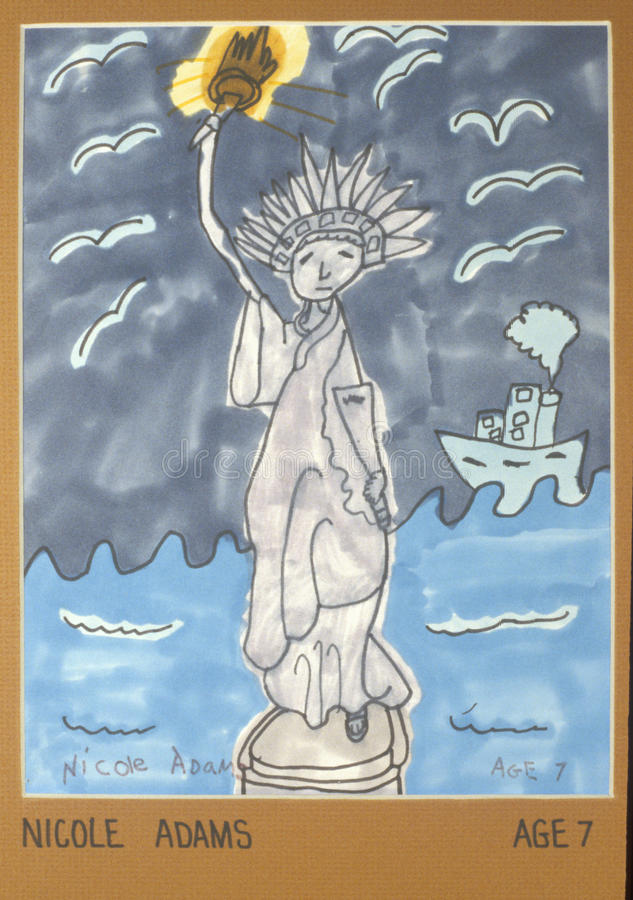 A watercolor of the Statue of Liberty royalty free illustration