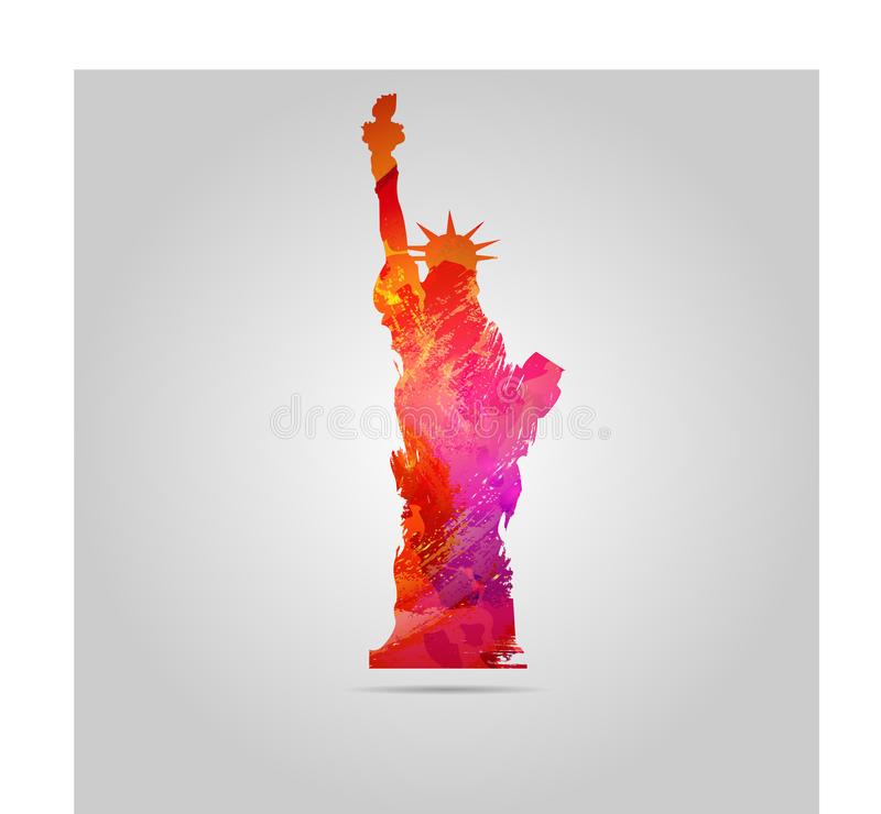 Watercolor Statue Of Liberty vector icon stock images