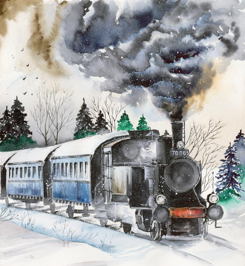 Watercolor steam engine on the snowy railroad. Watercolor picture of a steam vector illustration
