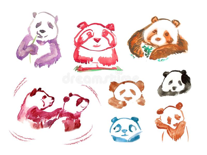 Watercolor stickers panda stock illustration