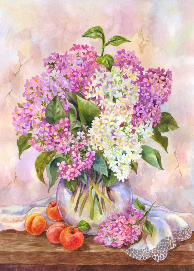 Watercolor still life with bouquet of lilac and apricots on the wooden table. Beautiful, elegant vintage-style picture suitable. Lush bouquet of lilac in a glass vector illustration