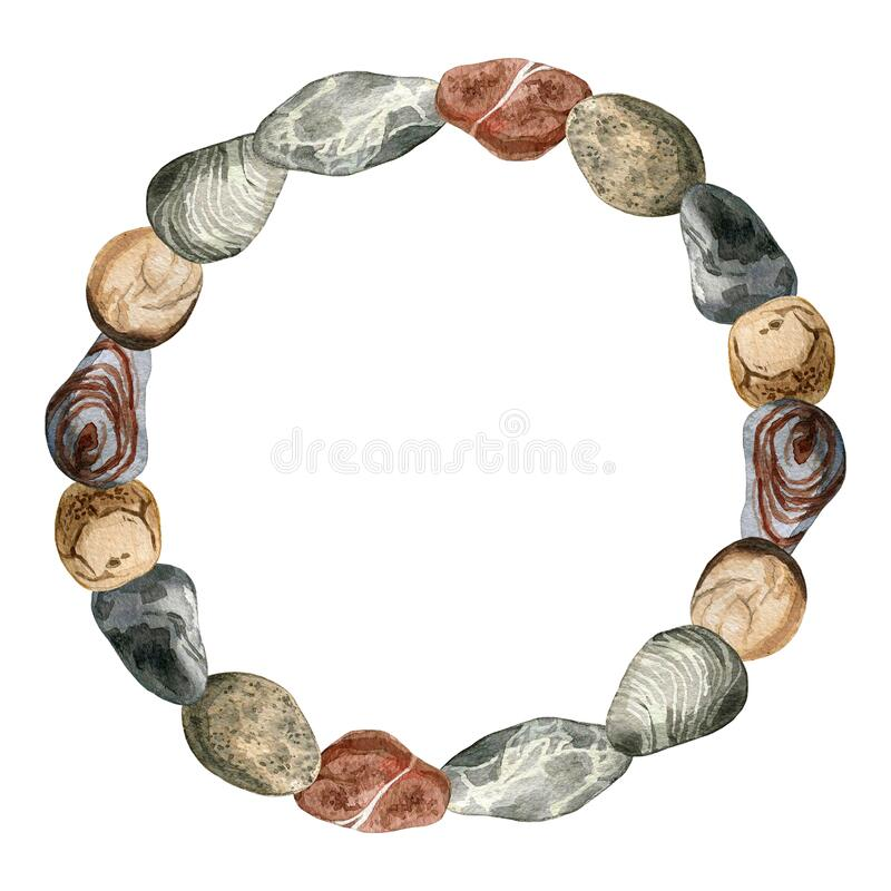 Free Watercolor Stones Circle Template Illustration. Colorful Sea Pebbles Frame On White Background Stock Image - 189536491