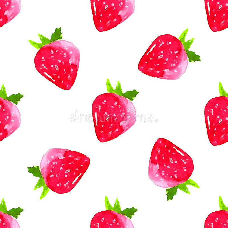 Free Watercolor Strawberry Background. Seamless Vector Stock Photography - 56474112