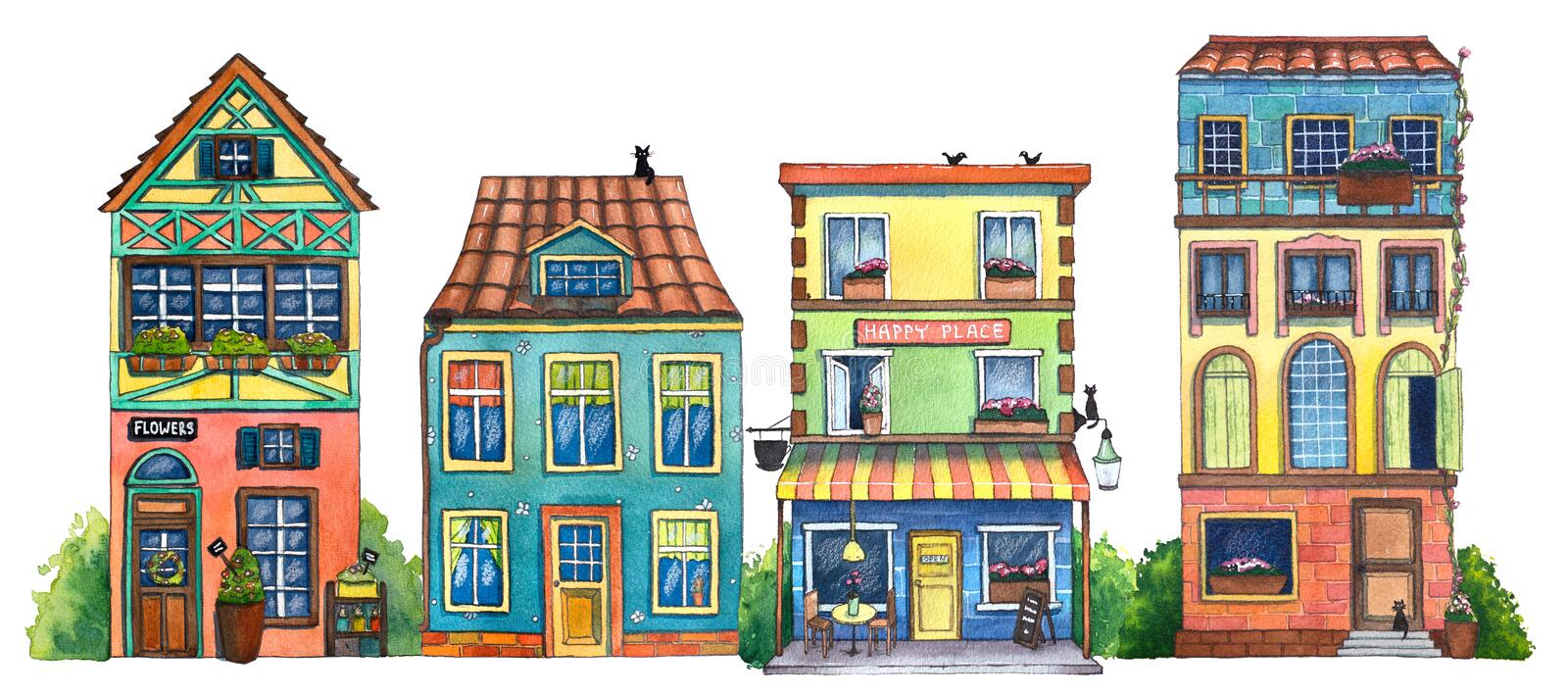 Watercolor street with cafe, houses, flowers shop, and cats. royalty free illustration