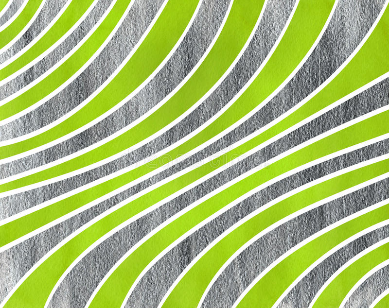 Watercolor striped background. Watercolor lime green and acryl silver striped background. Curved line pattern vector illustration