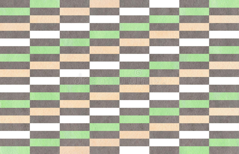 Watercolor striped background. Watercolor mint, gray and beige striped background stock illustration