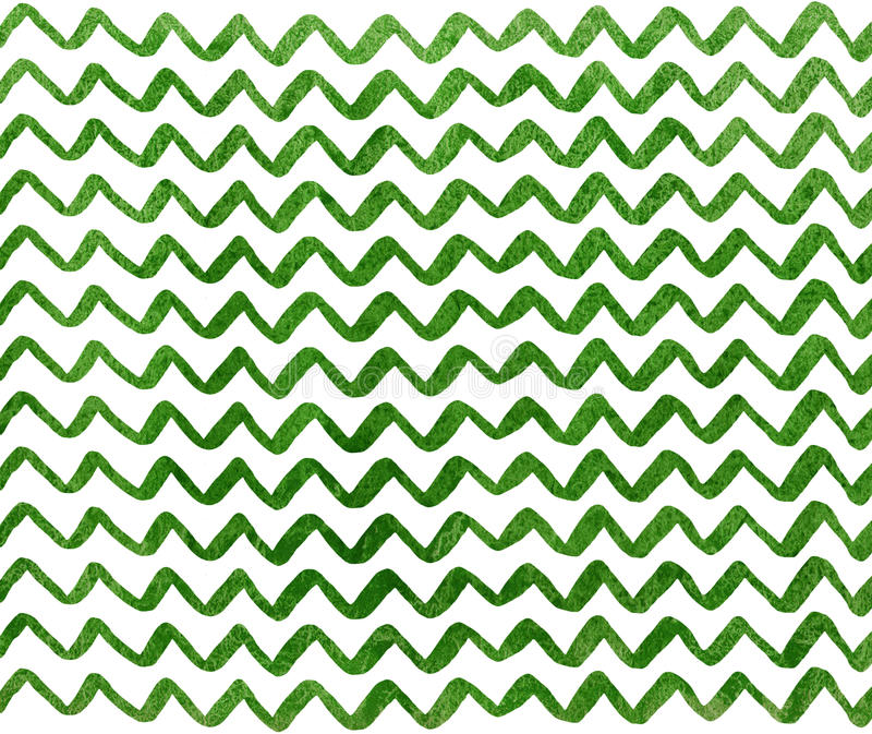 Watercolor stripes background, chevron. Watercolor green hand painted stripes pattern, chevron royalty free illustration