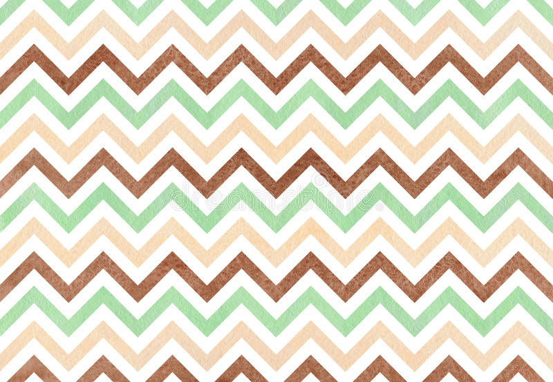 Watercolor stripes background, chevron. Watercolor mint, brown and beige stripes background, chevron royalty free illustration