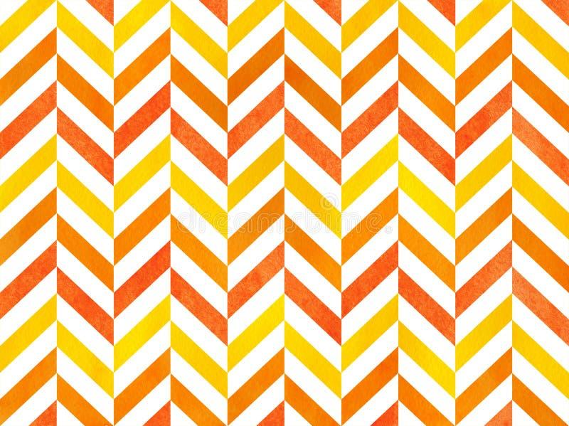 Watercolor stripes background, chevron. Watercolor orange and yellow stripes background, chevron stock illustration