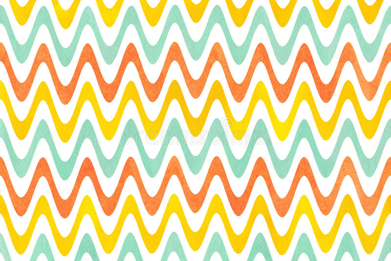 Watercolor stripes background, chevron. Watercolor yellow, seafoam blue and carrot orange stripes background, chevron royalty free illustration