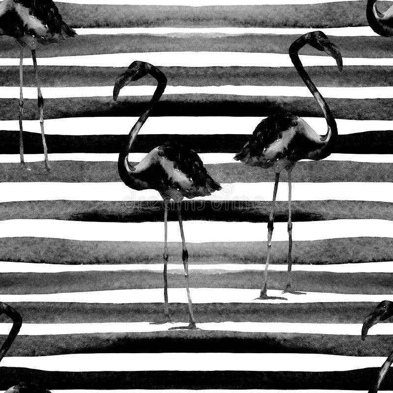Watercolor Stripes Seamless Pattern with Flamingo. Hand Drawn Watercolor Illustration. Beautiful Aloha Swimwear Design. Print for Fabric, Textile stock image